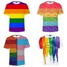 LGBT Flag Rainbow Movement Design Embroidered Tee Top LGBT Flag T-shirt