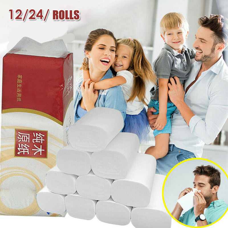 24 Roll Toilet Paper Tissue Toilet Bulk Roll White Soft 3 Ply Bath Bathroom Paper Towel New IK88
