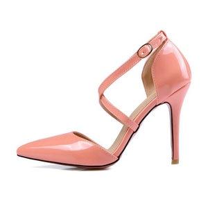 Image 3 - ZawsThia חצה רצועת נעלי נשים משאבות אבזם רצועת סקסי דק גבוהה עקבים שתי חתיכה עקבים מחודדת הבוהן צהוב גבירותיי נעליים 33 47