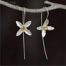 LULU-PIG Hot selling 925 pure silver earrings Thailand Chiang mai arts handmade flower earrings women CED024(China)
