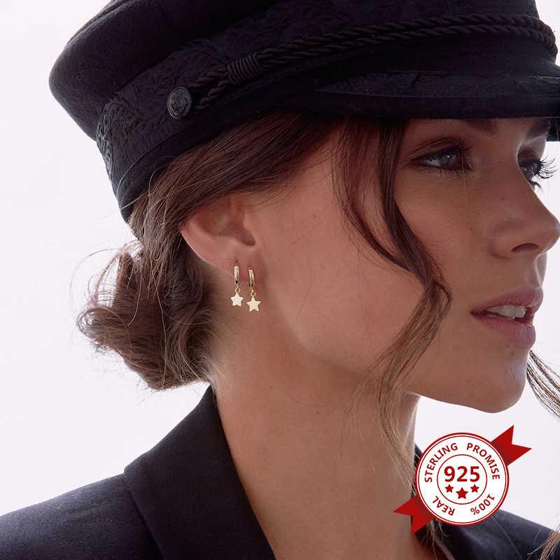 골드 925 스털링 실버 후프 귀걸이 서클 스타 작은 후프 귀걸이 여성 귀걸이 여자 레이디 패션 쥬얼리
