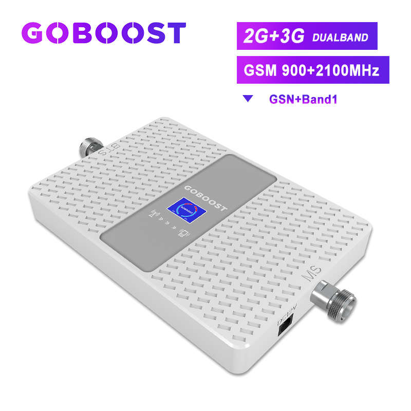 GSM Repeater Cellular Signal Booster 2G GSM 900 UMTS 2100 3G Repeater 3G Signal Amplifier Band1 WCDMA For Cell Phones 70dB Dual