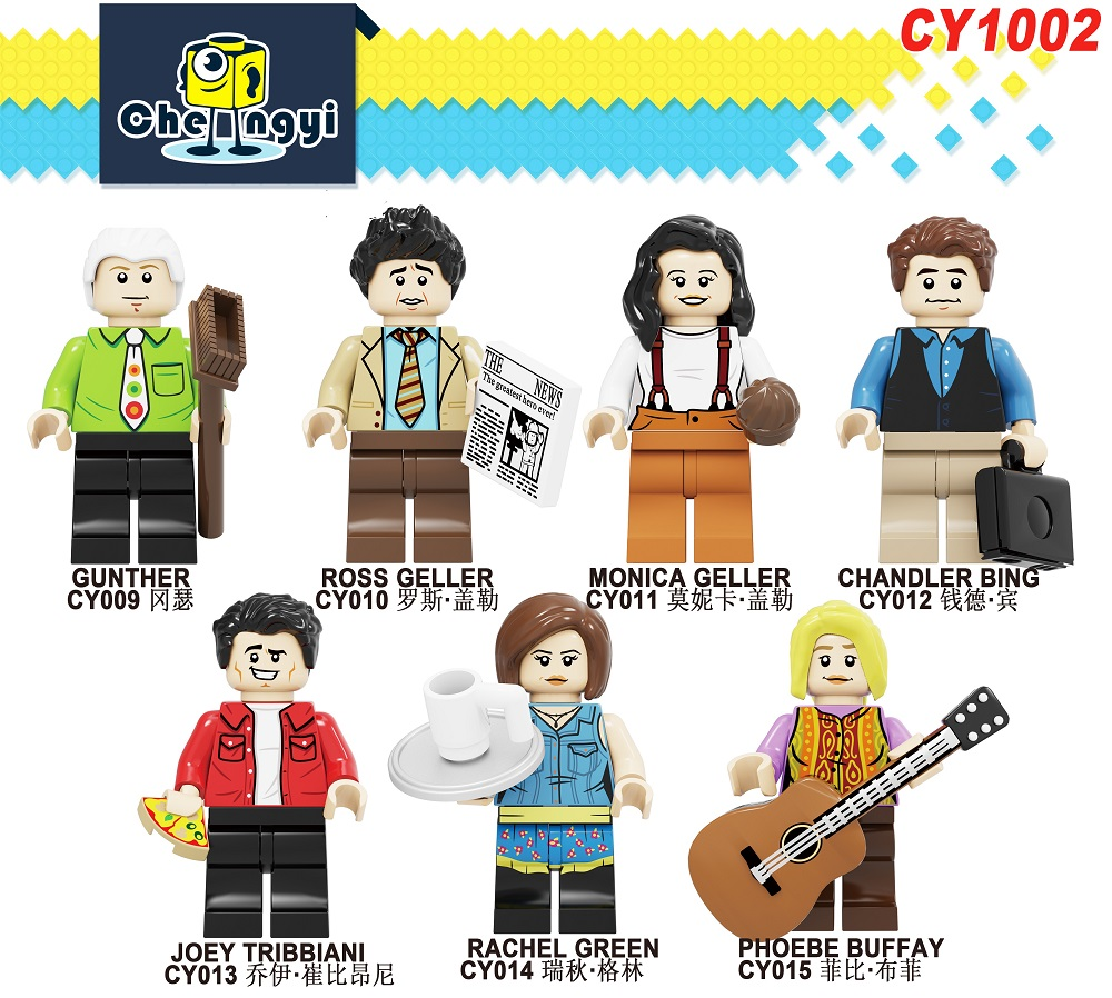 Building Blocks Comedy TV Bricks Gunther Ross Geller Monica Geller Chandler Bing Joey Tribbiani Figures For Children Toys CY1002