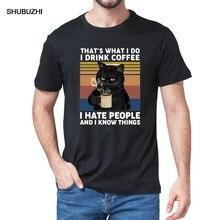 Engraçado gato preto que é o que eu faço eu bebo café eu odeio pessoas vintage verão camiseta de algodão masculino presente humor camiseta feminina topos