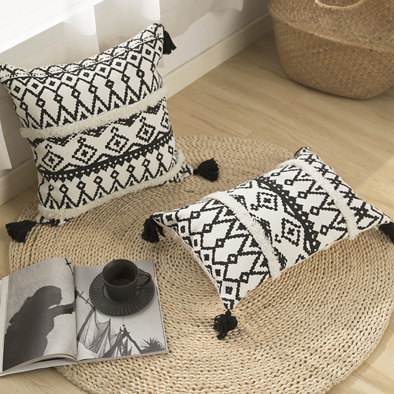 black white geometric cushion cover 45x45cm tufted cotton woven pillow cover handmade for home decoration sofa bed boho style