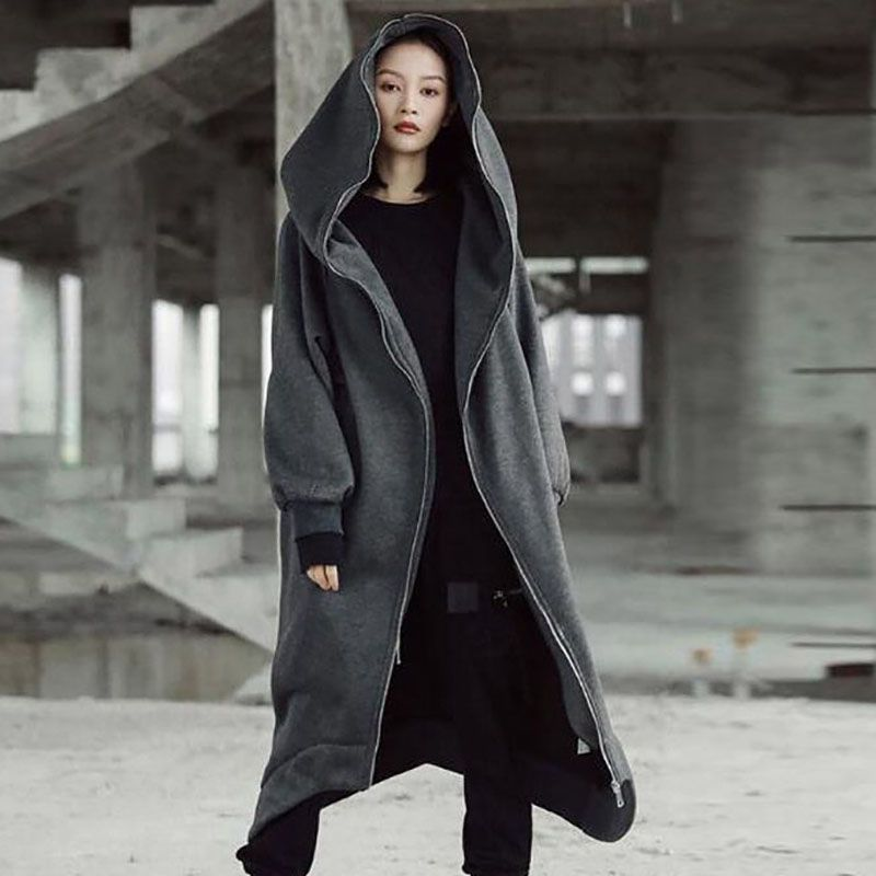 Fashion Long Sleeve Hooded Trench Coat Autumn Winter Black /Gray Zipper Plus Size 5XL Long Coat Solid Color Women Overcoat on AliExpress