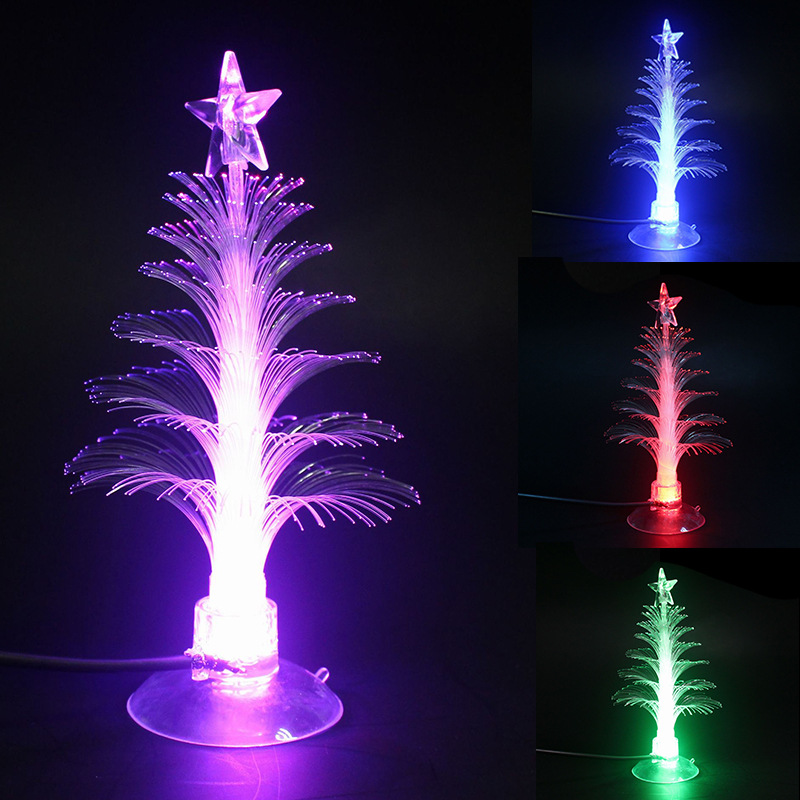 Creative LED Mini Colorful Shining Night Lamp For Christmas Tree PVC Guang Fiber Shu Christmas Decoration Gift Manufacturers Dir