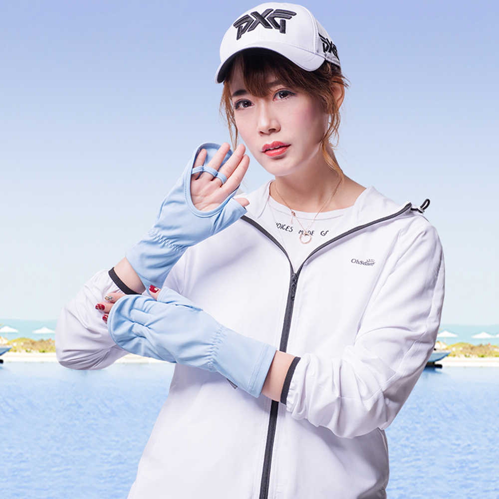 OhSunny Summer Breathable Sun Protection Half Finger Gloves Hand Protector Palm Hollow Out Touchscreen Driving Cycling