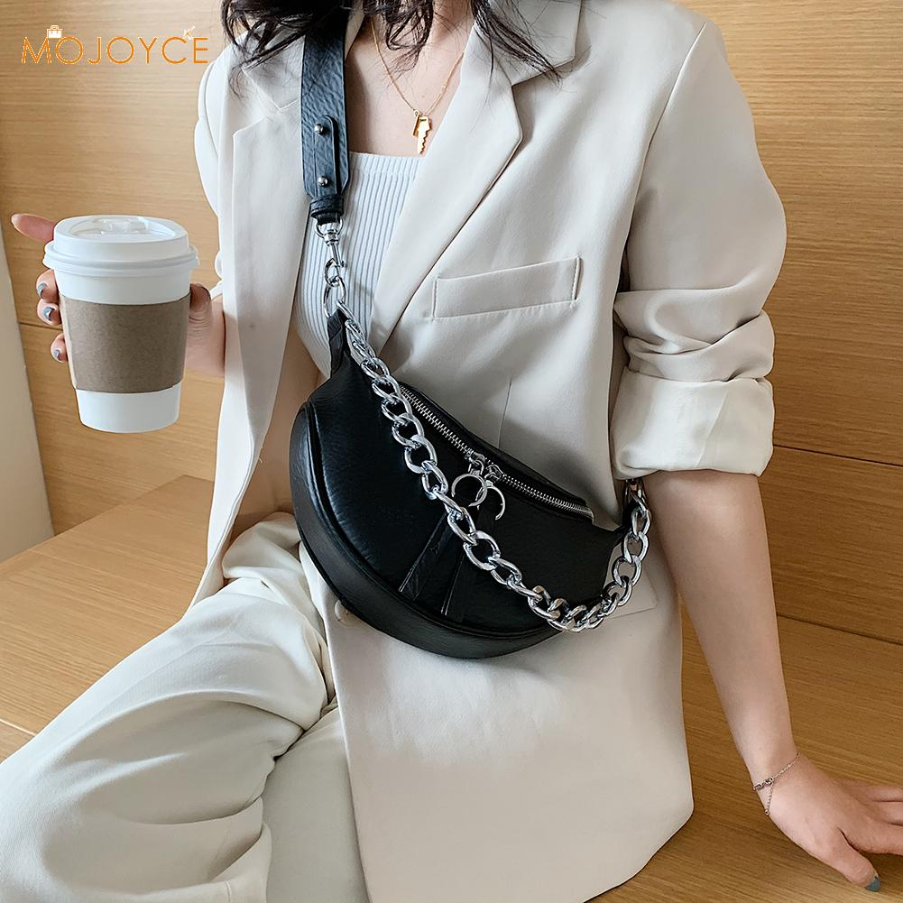 Women Waist Pack Chain Belt Messenger Bag Zipper PU Leather Travel Street Chest Shoulder Purse Pouch