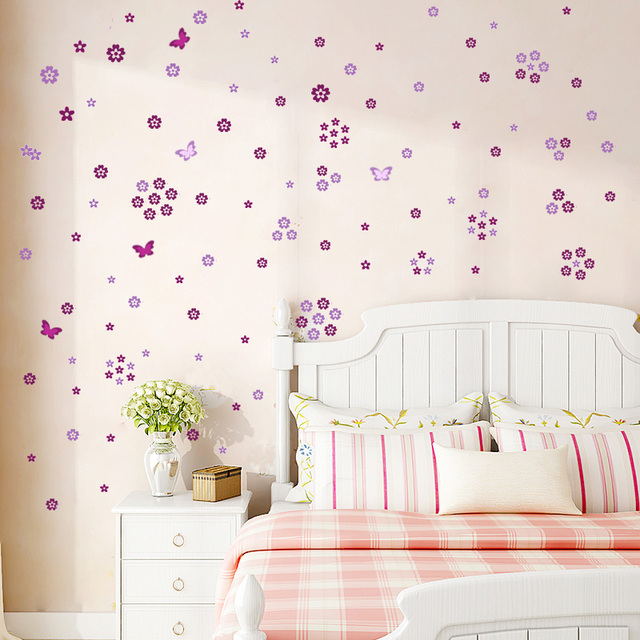108pcs Flowers & 6pcs Butterfly Wall Stickers 6