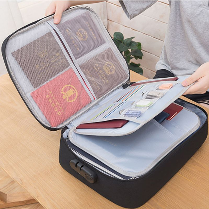 Document Ticket Bag With Combination Lock Large Capacity Waterproof Home Travel
