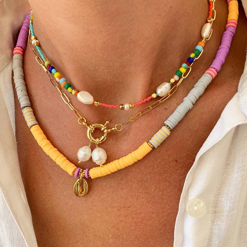 2020 New Summer Beach Handmade Jewelry Seed Beads Necklace for Women Bohemian Trendy Beaded Jewelry Choker Necklaces Accessories