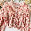 Elegant Sweet ruffle Women Shirt Lantern sleeve Floral print Chiffon Shirts and Blouses 2020 Spring Slim Female blouses Tops 5