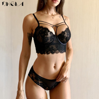 New Top Sexy Underwear Set Green Bras Cotton Brassiere Women Lingerie Set Lace Embroidery Push up Bra Panties Sets Deep V Gather 3