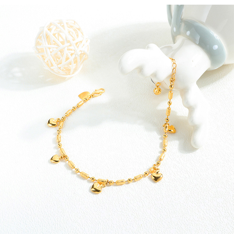 ZG Women Baby Girls Anklets Bracelets 18Kc Gold Filled Heart Lucky Beaded Ankle Chain Fashion Foot Jewelry Gifts