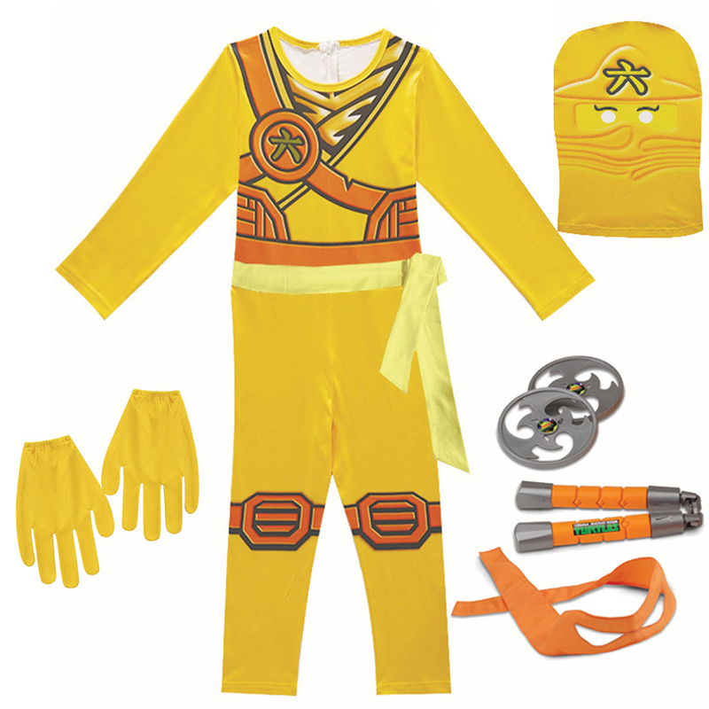 Ninjago Cosplay Costumes Boys and Girls Jumpsuit weapon Set cosplay anime children's fantasy Halloween Christmas Party clothes 5