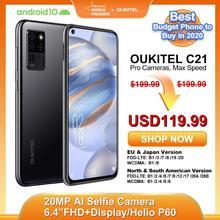 OUKITEL C21 4G Smartphone 4G+64G 4000mAh Octa Core Mobile Phone 6.4'' FHD Hole Punch Screen 20MP Quad Camera Helio P60 Phone