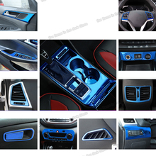 Lsrtw2017 Blue Stainless Steel Car Gear Panel Vent Window Control Panel Trims for Hyundai Tucson 2015 2016 2017 2018 Accessories lsrtw2017 stainless steel car lower window trims for peugeot 5008 accessories