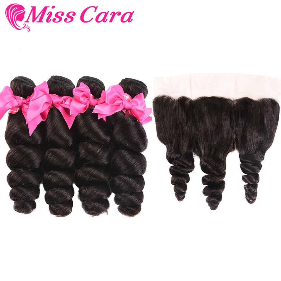 Peruvian Loose Wave Bundles With Frontal 100 Human Hair 3 4 Bundles With Frontal Miss Cara