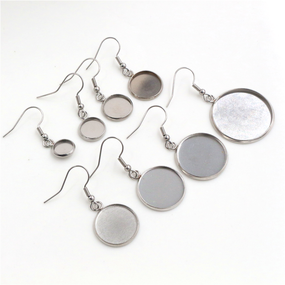 ( No Fade) 8 10 12 14 16 18 20 25mm 10pcs Stainless Steel Cabochon Earring Settings Earrings Base,Diy Earrings Hooks Findings