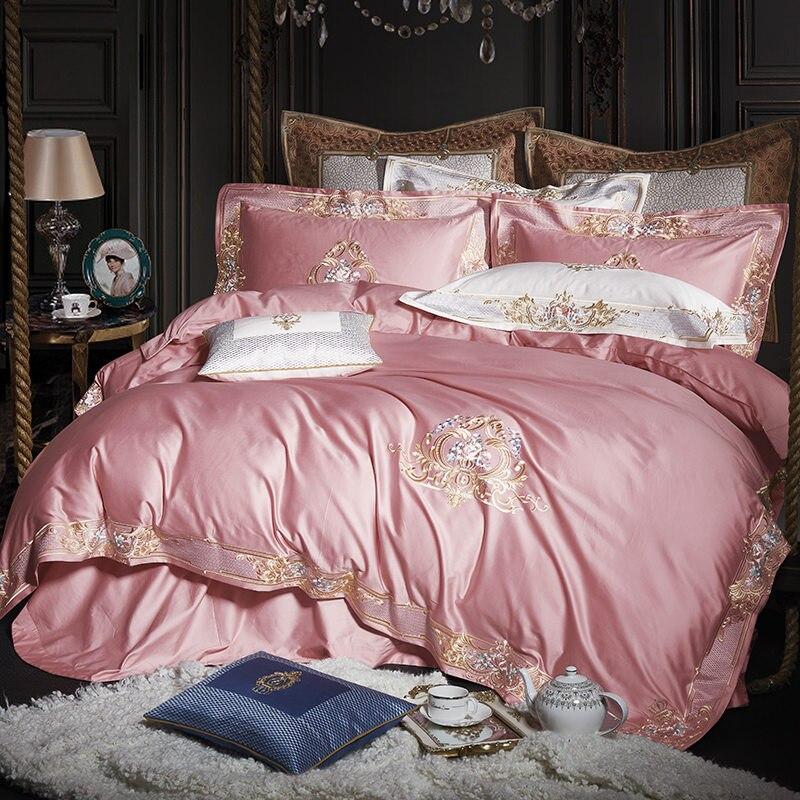 Premium 1000TC Egyptian Cotton White Grey Bedding Set US Queen King Size Embroidery Quilt/Duvet Cover Bedsheet Pillow Shams