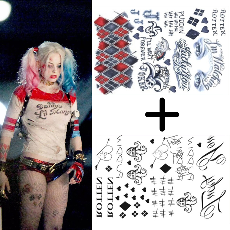 Suicide Squad Harley Quinn Tattoo Stickers Cosplay Props Waterproof Temporary Fake Tatto Women Girls Halloween Accessories