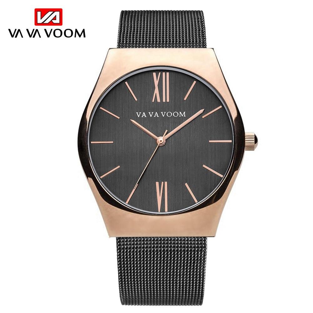 VA VA VOOM Simple Design Men Watch Business Casual Quartz Watches For Male Waterproof Wristwatch Steel Strap Watch montre homme