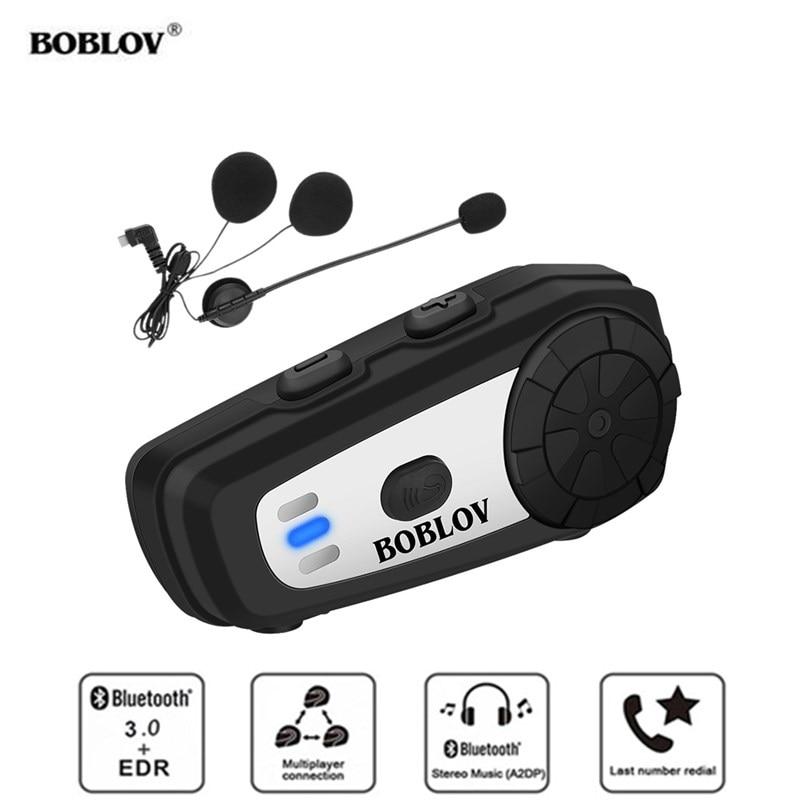 BOBLOV M6 BT Motorcycle Helmet Intercom Handsfree Wireless Bluetooth Headset Motorbike Intercom FM Radio Stereo Music