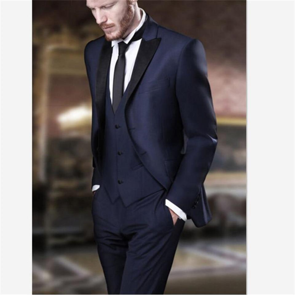 Лидер продаж, темно синий мужской костюм, вечерние смокинги, деловой мужской блейзер, офисная одежда, мужские костюмы из 3 предметов (пиджак +
