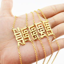 Icam feminino personalizado colar data especial número do ano colar menina 1994 1995 1996 1997 1998 1999 de 1980 a 2000 jóias