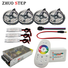 5050 LED Strip RGBW/RGBWW Flexible Set with 2.4G Touch RF Remote Controller+12V Power Supply Adapter+Amplifier 5M/10M/15M/20M