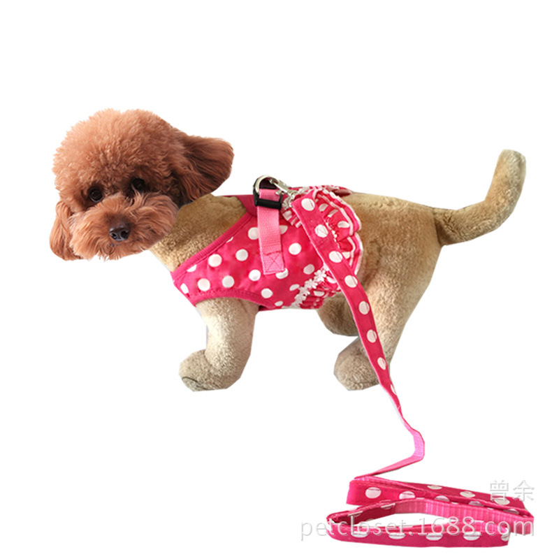 Pet Thoracodorsal Polkadot Vest Style Strap Dog Clothes Delivery Hand Holding Rope