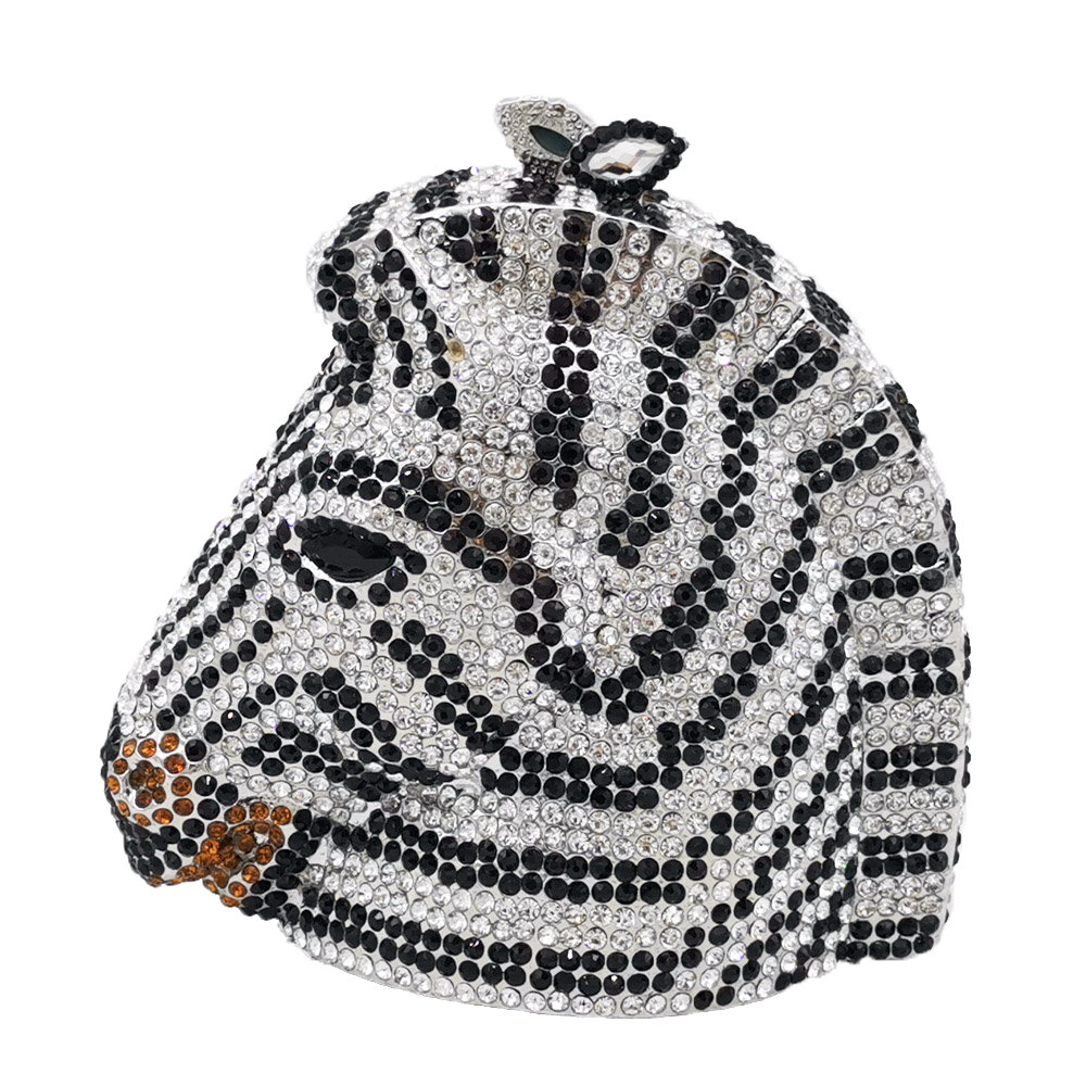 Boutique De FGG Elegant Zebra & Horse Head Women Mini Crystal Evening Purses and Handbags Wedding Party Minaudiere Clutch Bag-in Top-Handle Bags from Luggage & Bags    1