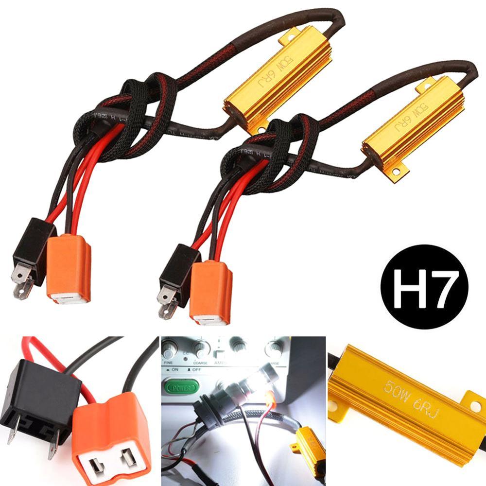 2pcs h7 canbus carga resistor 50w 6Ω canbus decodificador aviso cancelador decodificador luz livre de erros 12v resistência chicote de fios adaptador