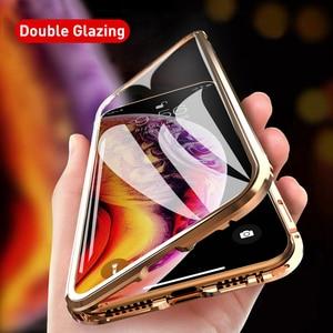 Image 3 - כפול צדדי זכוכית מגנט מקרה עבור iphone 7 8 בתוספת XS Max Xr X מתכת מגנטי 360 תואר מלא כיסוי מקרה עבור iphone 6 Coque