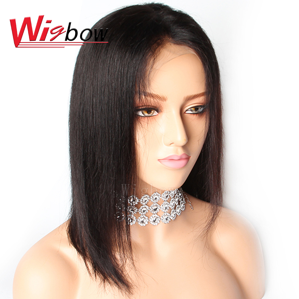Wigbow OneCut Hair Brazilian Straight Short Bob Wigs  Can Be Dyed Lace Front Human Hair Wigs Pre-Plucked Bleached Knots