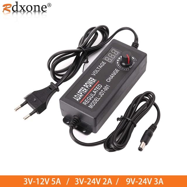 Adjustable AC to DC 3V 12V 3V 24V 9V 24V Universal adapter with display screen voltage Regulated 3V 12V 24V power supply adatper