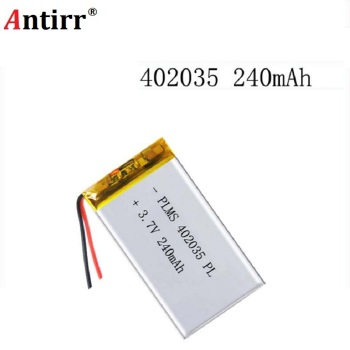 3.7 V Lithium Polymer Batteries 042035  402035 250 Mah MP3 MP4't A MP5 Small Toys Free Shipping