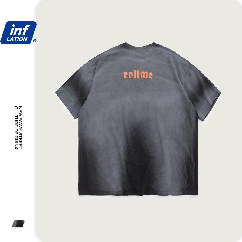INFLATION Streetwear Men Tie-dye Tshirts Gradual Change Boys Tee Embroidery Logo Men Oversized Tshirt Cotton Male Tshirt 1096S20