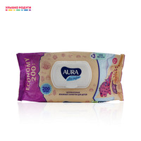 Wet Wipes AURA 3114623 Beauty Health Sanitary Paper papers wipe napkin napkins doily doilies serviette Улыбка радуги ulybka radugi r ulybka smile rainbow косметика