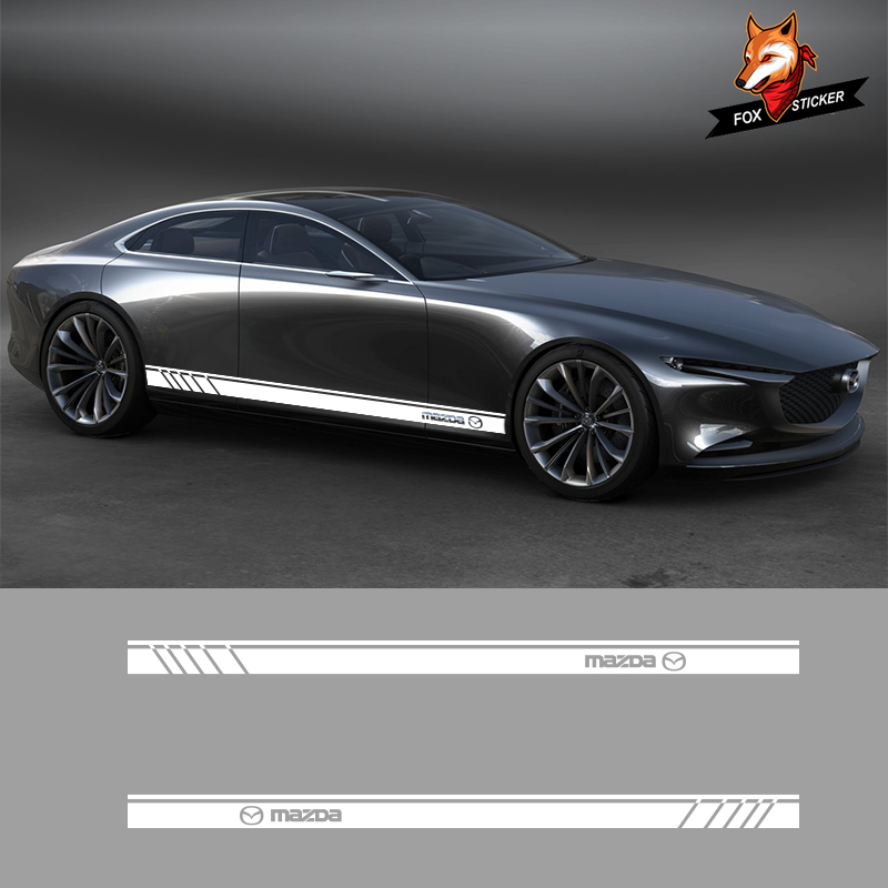 2 PCS Car Side Skirt <font><b>Stickers</b></font> Gloss Auto Side Car <font><b>Sticker</b></font> for <font><b>Mazda</b></font> MX5 CX 3 <font><b>5</b></font> 9 Wagon Sedan Koeru Kai Hazumi Concept MPS Takeri image