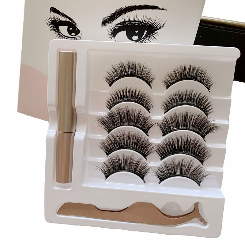 5 Pairs maquillaje False <font><b>Eyelashes</b></font> & Tweezer <font><b>Set</b></font> <font><b>magnetic</b></font> natural long lashes makeup faux cils <font><b>Eyelash</b></font> liquid <font><b>eyeliner</b></font> image