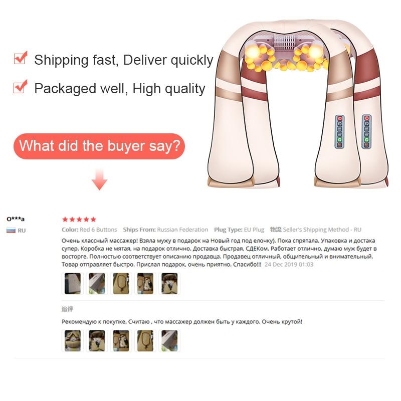JinKaiRui U Shape Electrical Shiatsu Body Shoulder Neck Massager Back Infrared 4D kneading Massage Car Home Best Gift HealthCare 3