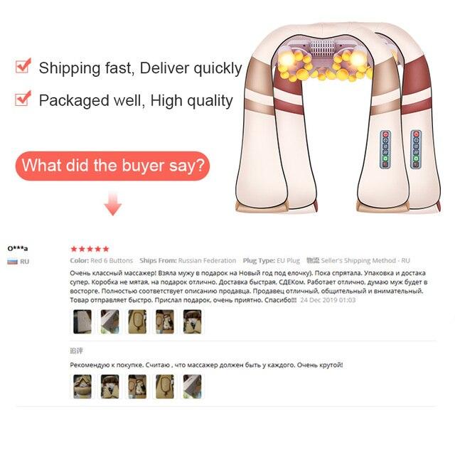 JinKaiRui U Shape Electrical Shiatsu Body Shoulder Neck Massager Back Infrared 4D kneading Massage Car Home Best Gift HealthCare 2