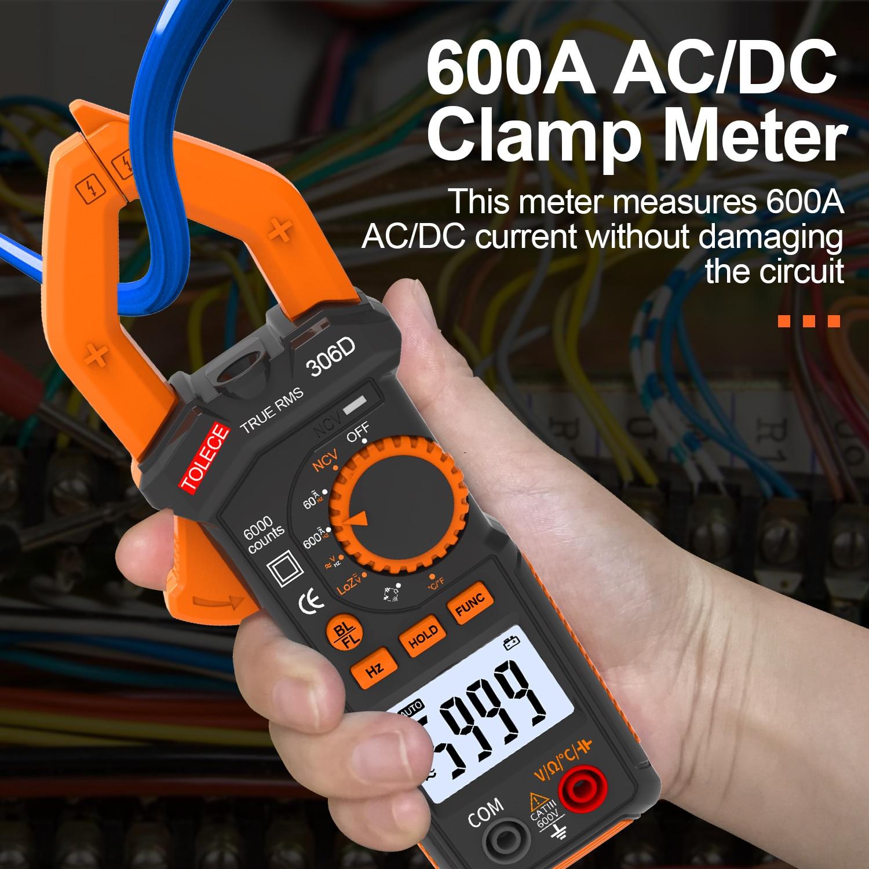 Digital Multimeter Clamp Meter 6000 Counts Voltage Tester Auto-ranging AC/DC Voltage, AC Current, Resistance, Capacitance