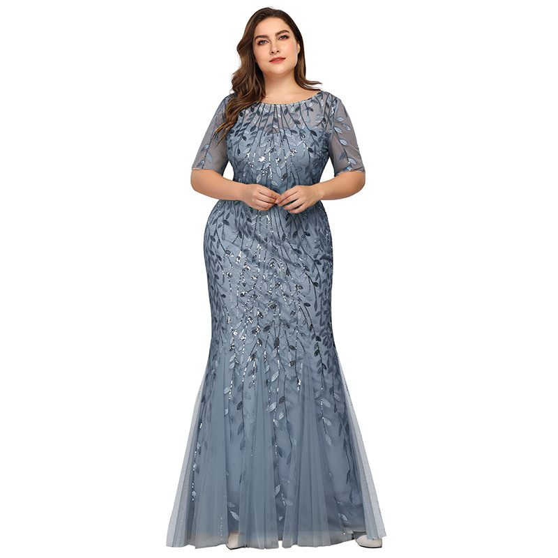 Plus Size Elegant Evening Dresses Mermaid Sequined Lace Appliques Long Dress Party Gowns Formal Dress Women 8XL Evening Gowns 2