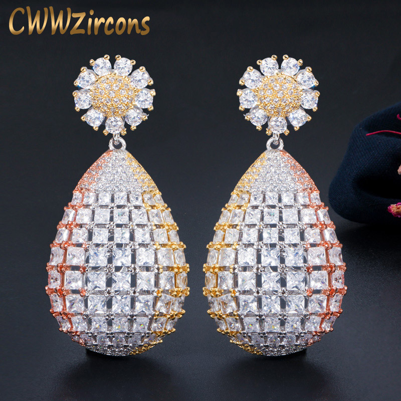CWWZircons High Quality 3 Tone Dubai Gold Large Long Flower Drop Luxury Earrings For Bride Wedding Party Costume Jewelry CZ672