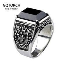 Настоящие чистые искусственные кольца с черным ониксом из натурального камня, Ретро цветок с гравировкой в стиле панк рок, Винтажные Ювелирные Изделия