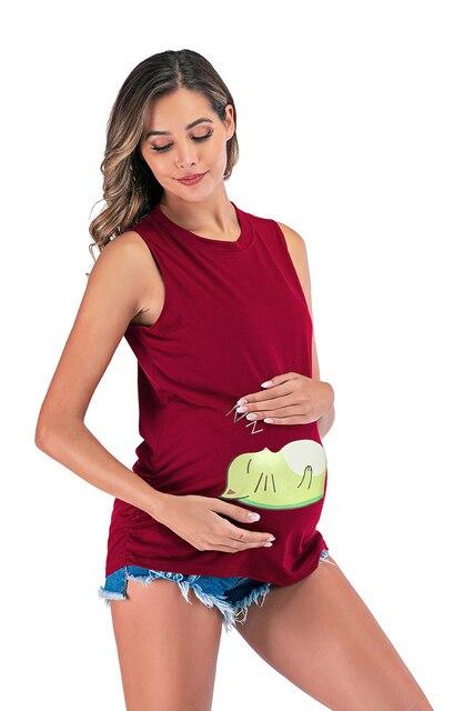 6107 # lustige Baby Gedruckt Mutterschaft T-shirt Sleeveless Tank Weste Bauch T Shirt Kleidung für Schwangere Frauen Schwangerschaft Tees Tops