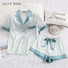 JULYS SONG Women Pajamas Set 2 Pieces Stripe Faux Silk Pajamy Suit Cute Simple Casual Sleepwear Short Sleeves Shorts For Female